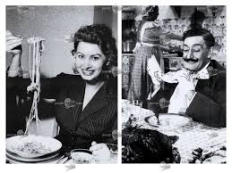 sophia and comedian eating spaghetti